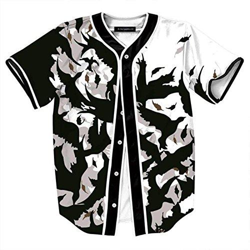 - PIZOFF Short Sleeve Arc Bottom 3D Pigeon Leaf Print Baseball Jersey Shirt Y1724-A4-XL
