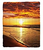 Chaoran 1 Fleece Blanket on Amazon Super Silky Soft All Season Super Plush Ocean Decor Collectionunset at ay Beachun Lights Up Clouds theea from the Horizon at Hawaii Picture Fabric Orange Beige