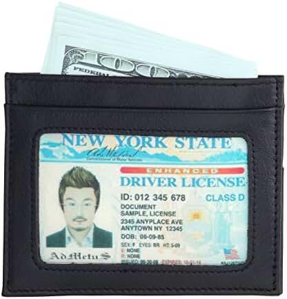 Admetus Simple Front Pocket Wallet Genuine Leather Ultrathin ID Minimalist Wallet