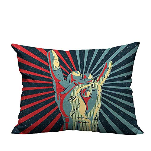 YouXianHome Decorative Throw Pillow Case Hand in Heavy Metal Rocker Sign Musical Universal Gesturing Lightning Bolts Party People Ideal Decoration(Double-Sided Printing) 20x35.5 inch