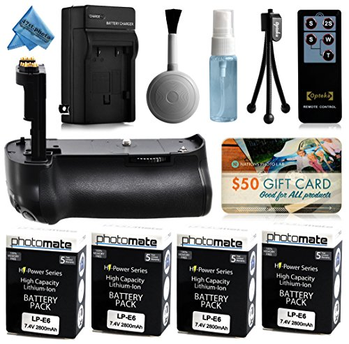 Multi Power Battery Grip + (4 Pack) Ultra High Capacity LP-E6 LPE6 Replacement Battery (2800mAh) + Replacement AC/DC Rapid Battery Charger with Car & European Adapter + Wireless Shutter Release Remote Control + $50 Gift Card for Prints + Lens Cleaning Kit for Canon EOS 6D DSLR SLR Digital Camera (BG-E13 BGE13 Replacement)
