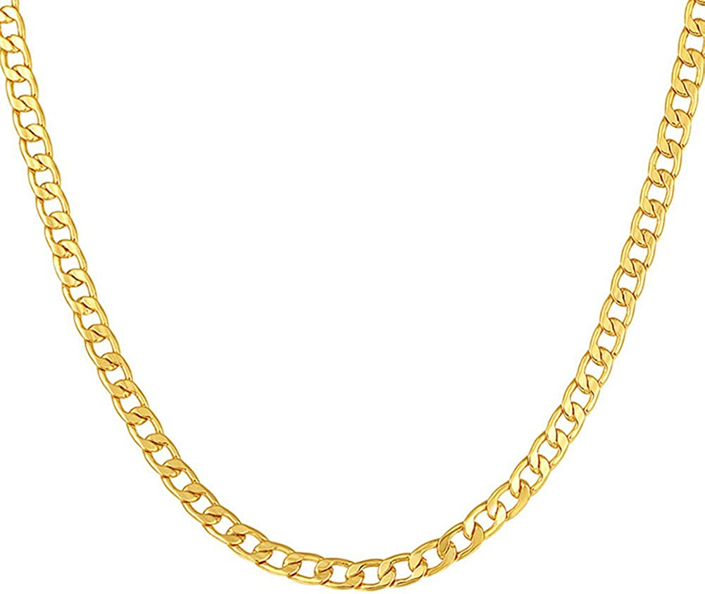 Mmttao 18k Gold Plated 5mm Wide Cuban Curb Cable Link Chain
