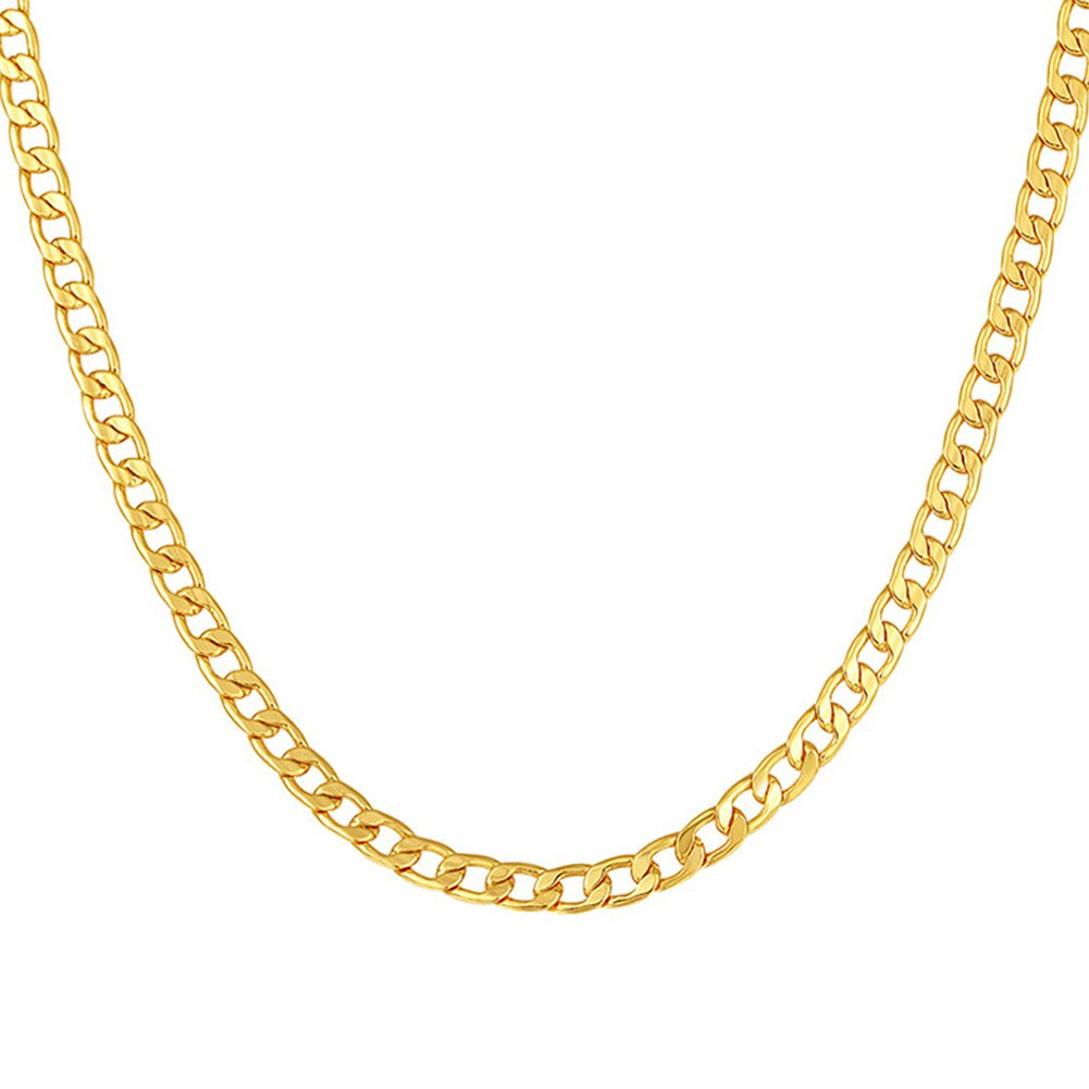 SWOPAN 18K Gold Plated 5MM Wide Flat Cuban Curb Chain Necklace Pendant Men Women Gold-Plated Classic Hip Hop Punk Fashion Jewelry 18K Stamp, 28''