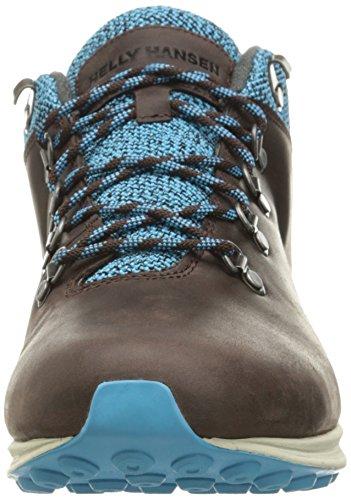 Helly Hansen Mens Jaythen X Sneaker In Pelle Di Avvio Chicco Di Caffè / Blu Ciano / Nero / Naturale