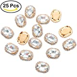 bling garment bag - 25Pcs Crystal Rhinestones Sewing on, Premium Clear Flatback Beads Buttons with Bling Diamond, DIY Craft Gems for Clothes Garment, Clothing, Bags, Shoes, Dress, Wedding Party Decoration (21mm Clear)