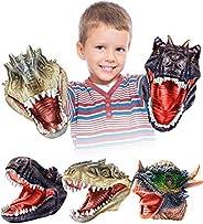 Geyiie Hand Puppets Toys,Dinosaur Hand Puppets for Kids,Realistic Latex Tyrannosaurus Rex,Velociraptor,Stygimo