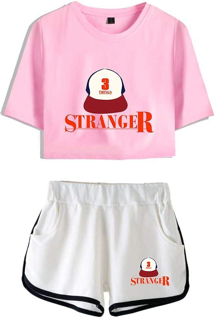 OLIPHEE Tuta Sportiva con Stampa di Caratteri Anime con Logo di Serie di Stranger Things Sets Sportive per Ragazze e Donna
