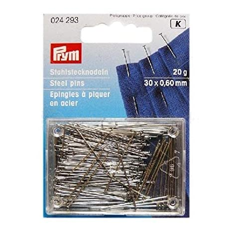 9 Silver Assorted Colours 0.60 x 30 mm Prym Glass headed Pins No