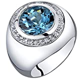 Mens 5.50 Carats London Blue Topaz Signet Ring Sterling Silver Size 11