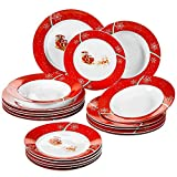VEWEET 18-Piece Porcelain Stoneware Dinnerware Set Christmas Deer Pattern Plate Sets with Dinner Plate, Dessert Plate, Soup Plate, Service for 6 (CHRISTMAS Series)