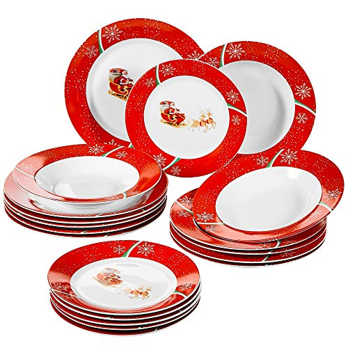 VEWEET 18-Piece Porcelain Stoneware Dinnerware Set Christmas Deer