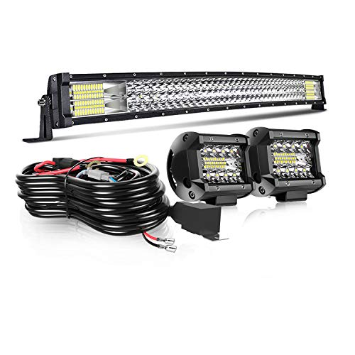 T-Former Led Light Bar 32Inch 441W Curved Triple Row Offroad Led Bar Spot Flood Combo + 2Pc 4Inch Led Pods Fog Lights + Wiring For Jeep Truck Suv Polaris Ranger Rzr Golf Cart 4x4