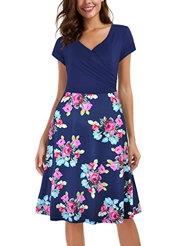 Le Vonfort Sundresses for Women, Floral Patchwork Casual Dress A Line Cap Sleeve V Neck Sapphire XX-Large