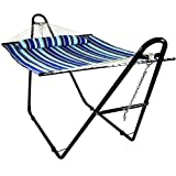 Sunnydaze Quilted Double Fabric 2-Person Hammock with Multi-Use Universal ...