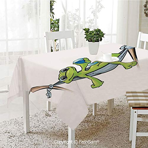 AmaUncle 3D Print Table Cloths Cover Bohemian Frog Prince On Hammock with Wine Little Mascot Relax Peace in Garden Decorative Resistant Table Toppers (W60 xL84)