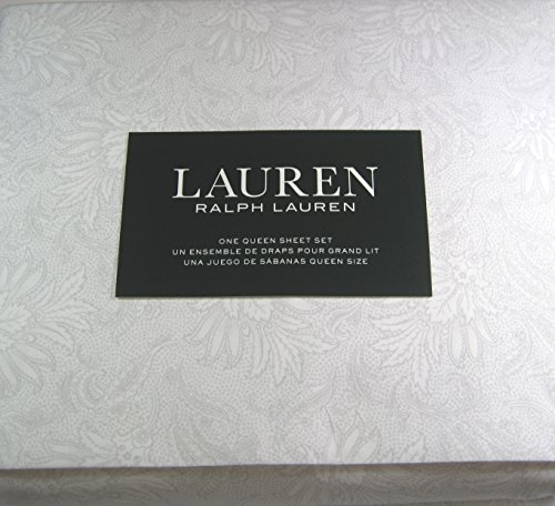 Lauren 4 Piece Floral Queen Sheet Set Light Gray 100% Cotton 300 Thread Ct.