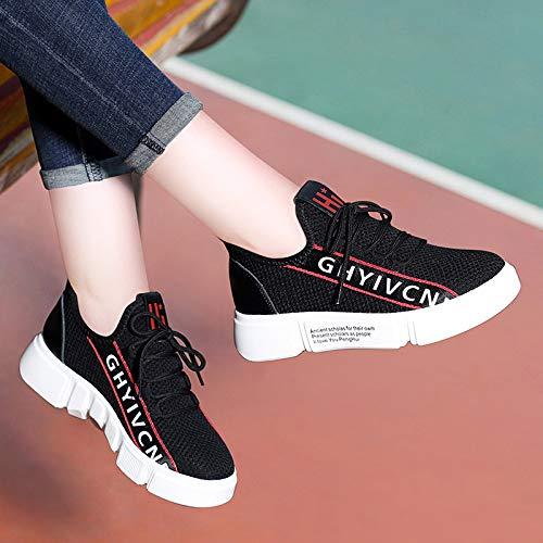 los Transpirable Cuero black de Deportes AJUNR de Zapatos de Zapatos Blancos otoño Zapatos Deportivos Zapatos señoras PwZqd8