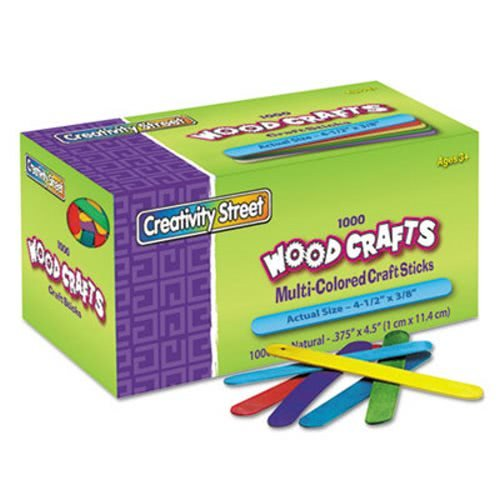 The Chenille Kraft Company Colored Wood Craft Sticks, 4 1/2 X 3/8, Wood, Assorted, 1000/Box (6 Boxes)