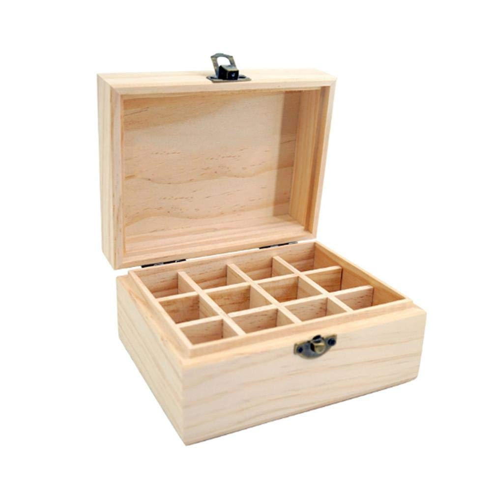 Essential Oil Box, Wooden Storage Case For 12 Bottles, Large Organizer Best For Keeping Your Oils Safe, Essential Oils 15 ML Carrying Case, Essential Oil Travel Case, Essential Oil Holder Organizer by rainrain27
