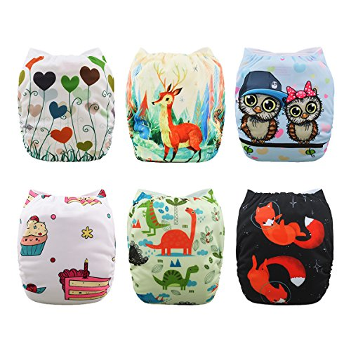 Babygoal Baby Cloth Diapers,Adjustable Reusable Pocket Diaper Pail 6pcs + 6 Inserts+One Wet Bag ,Girl color 6FG30