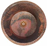 Egypt gift shops Round Textured Matte Copper Bath Bathroom Pan Panning Vessel DIY installation Sink Remodel House Construction Renovation Upgrading Repair Rustic Industrial Decor Antique Finish