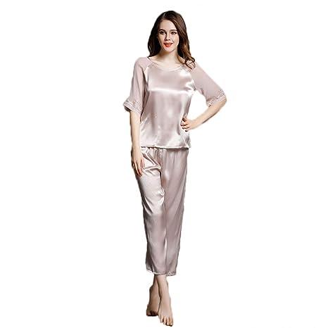 comprar popular e583f f9401 GOUDAN Conjunto de Pijama de Seda para Mujer, Conjunto de ...
