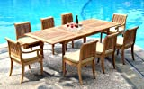 Cheap Grade-A Teak Wood 8 Seater 9 Pc Dining Set: 94″ Double Extension Rectangle Table & 8 Giva Chairs (6 Armless & 2 Arm / Captain) #WFDSGVk