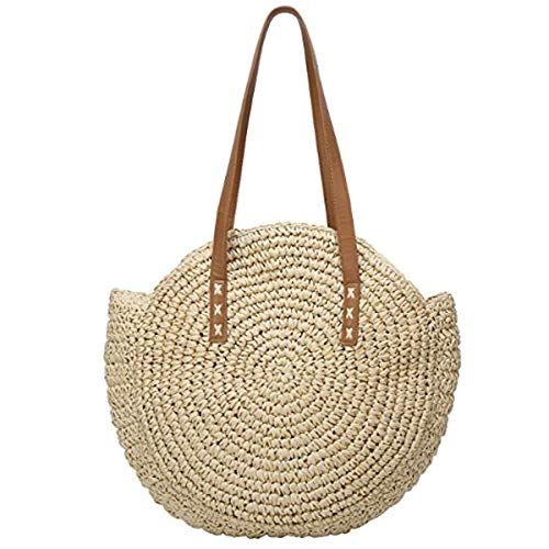 Women's Round Straw Bag Handbags Large Summer Beach Tote Woven Handle Shoulder Bag
