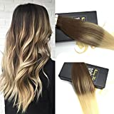 Sunny Balayage Tape in Hair Extensions Human Hair 24inch Multi Color Chocolate Brown Mixed Bleach Blonde 10PCs/25g Tape in Colored Hair Extensions offers