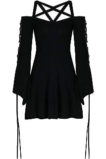 500364e2482c6 Darkinlove Robe Noire avec Sangles et Manches Larges à Lacet, Witchy nugoth