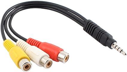 3.5mm Klinkenstecker auf zu 3-RCA Buchsen Stereo Aux Audio Video AV Adapterkabel