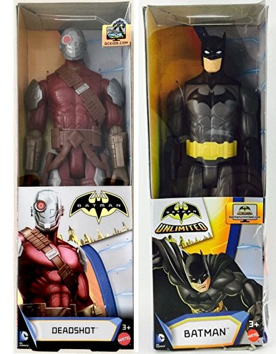Batman DC Universe Series 12 inch Action Figure - Batman Black Gray Suit / Batman Deadshot 12 inch Action Figure - Double 2-Pack (Iron Man Batman Suit)