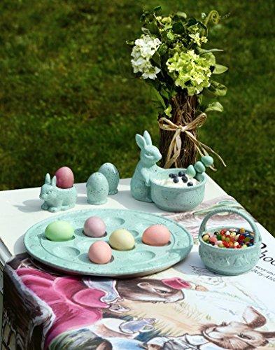 Boston International Spring Hare Ceramic Deviled Egg Plate, Blue by Boston International (Image #1)