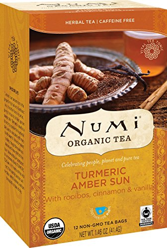 Numi Organic Tea Amber Sun, 12 Count Box of Tea Bags (Pack of 3) Turmeric Tea (Packaging May Vary)