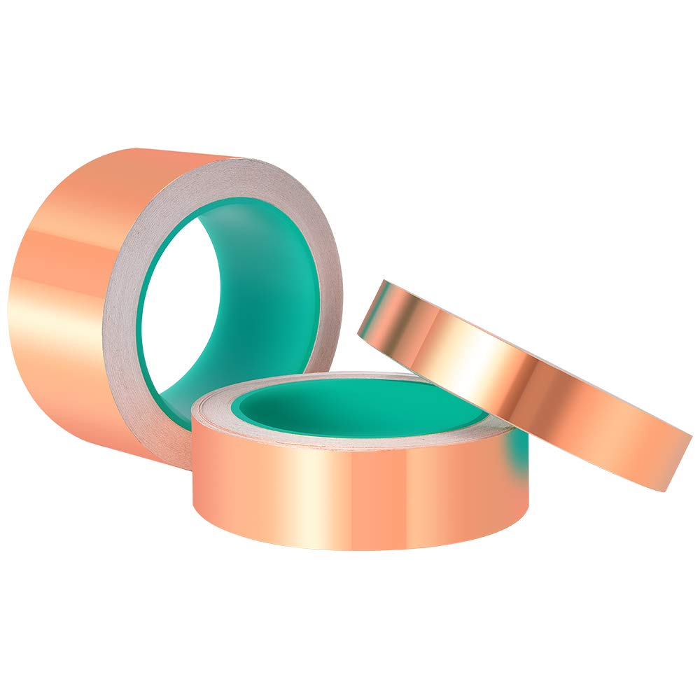 Electrical Repairs ASIV 2 Pack 1//4 inch x 66 Feet Copper Foil Tape with Conductive Adhesive for EMI Shielding Grounding Slug Repellent Paper Circuits