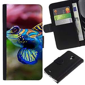 LASTONE PHONE CASE / Lujo Billetera de Cuero Caso del tirón Titular de la tarjeta Flip Carcasa Funda para Samsung Galaxy S4 Mini i9190 MINI VERSION! / Cool Neon Coral Fish