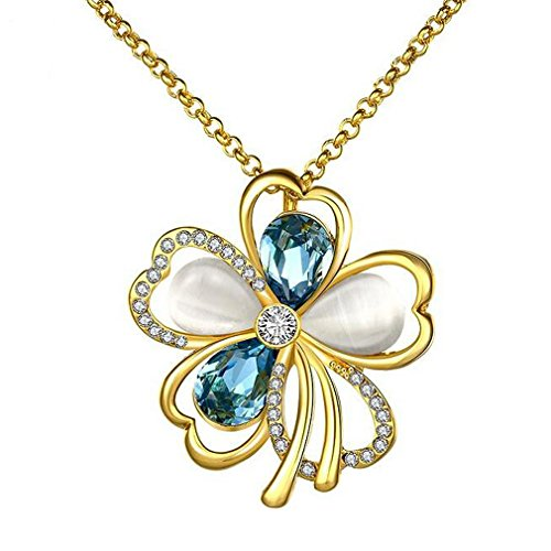 Fashion Flower Necklace Pendant Inlay crystal For Women Girl(C3) (14k White Gold Venetian Glass)