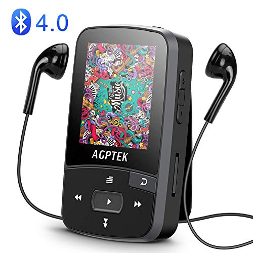 AGPTEK A50 8GB Clip Bluetooth MP3 Player with 1.5-inch TFT Display, Support up to 64GB, Black