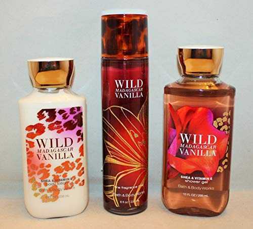 Bath & Body Works Wild Madagascar Vanilla Set, Body Lotion 8 Oz, Shower Gel 10 Oz & Fragrance Mist 8 Oz