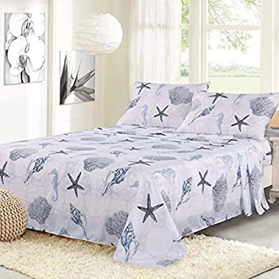 "ARTALL Brushed Microfiber Bed Sheet Set 4-Piece 1800 Bedding Seashell Starfish Pattern, Blue, Queen Size - [SUPER SOFT FABRIC]: our sheet set is made with Premium Brushed Microfiber. Fade, wrinkle and shrink resistant. Made of premium microfiber that makes the fabric more durable than cotton. It provides you a unique soft, comfortable, luxurious feel that make you fall asleep fast and sleep better. [MEASUREMENTS]: Queen: Flat sheet 90""x102""; Fitted sheet 60x80+14""; Pillowcases 2x20""x30"" [UNIQUE DESIGN]: ARTALL Printed Sheet Set features attractive gorgeous sea life pattern. The duvet cover with vibrant colors looks elegant and it adds romantic atmosphere to your room. - sheet-sets, bedroom-sheets-comforters, bedroom - 51J5hK8UaNL. SS400  -"