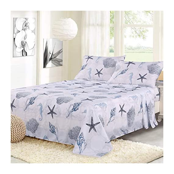 "ARTALL Brushed Microfiber Bed Sheet Set 4-Piece 1800 Bedding Seashell Starfish Pattern, Blue, Queen Size - [SUPER SOFT FABRIC]: our sheet set is made with Premium Brushed Microfiber. Fade, wrinkle and shrink resistant. Made of premium microfiber that makes the fabric more durable than cotton. It provides you a unique soft, comfortable, luxurious feel that make you fall asleep fast and sleep better. [MEASUREMENTS]: Queen: Flat sheet 90""x102""; Fitted sheet 60x80+14""; Pillowcases 2x20""x30"" [UNIQUE DESIGN]: ARTALL Printed Sheet Set features attractive gorgeous sea life pattern. The duvet cover with vibrant colors looks elegant and it adds romantic atmosphere to your room. - sheet-sets, bedroom-sheets-comforters, bedroom - 51J5hK8UaNL. SS570  -"