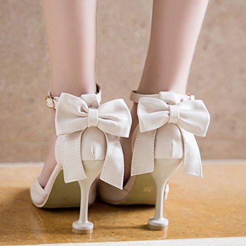Haut Talon Soiree Cheville Blanc Sandales TAOFFEN Femme Boucle Elegant Bowtie Ete Bride xUtqIf