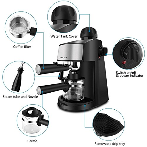 Steam Espresso Machine 800W 4 Cup Stainless Steel Espresso Cappuccino Latte Coffee Maker with Milk Frother and Carafe by SOWTECH (Image #1)