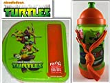 4 film favorites ninja turtles - TMNT Snack Lunch & Back To School BPA Free Bundle:2 Items-Teenage Mutant Ninja Turtles Sip N' Snack Canteen With Shoulder Strap & Lunch Container With Side Compartment & Reuseable Utensils