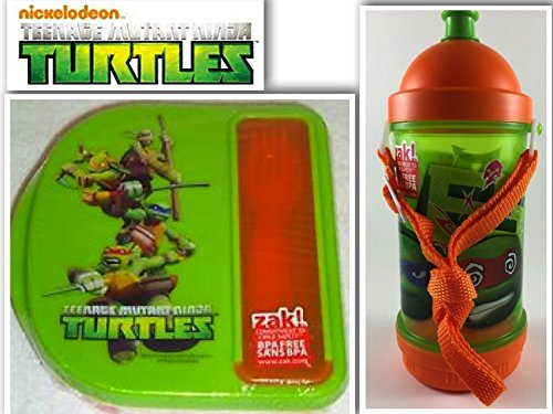 TMNT Snack Lunch & Back To School BPA Free Bundle:2 Items-Teenage Mutant Ninja Turtles Sip N' Snack Canteen With Shoulder Strap & Lunch Container With Side Compartment & Reuseable Utensils