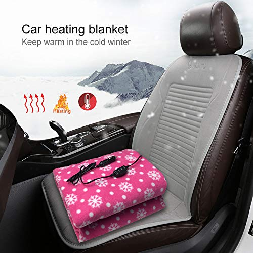 Electric Car Blanket Heated 12 Volt Fleece Travel Throw for Car,Pink Flannel Blanket with a Snowflake pattern for Cold Winters,Perfect Thanksgiving 150/×100cm Christmas Presents