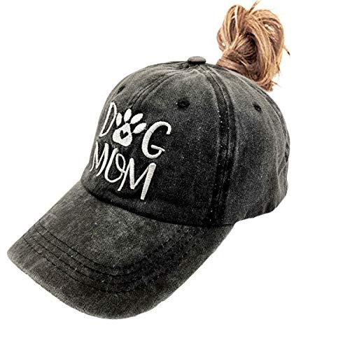 LOKIDVE Dog Mom Hat Embroidered Distressed Cotton Denim Baseball Cap