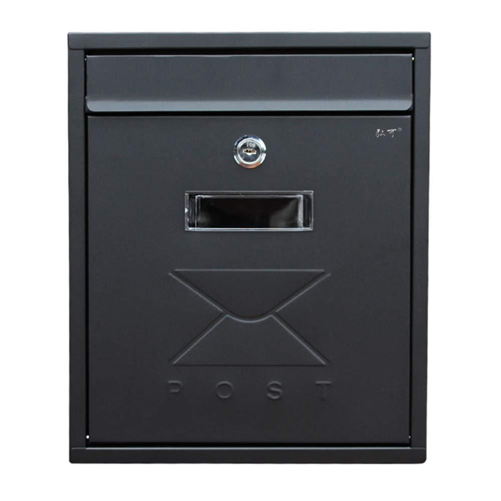 HUA BEI メールボックス メールボックス - 亜鉛プレート、ヨーロッパの黒い防水性と防雨性の小さな壁掛けホーム屋外窓のメールボックス、ヴィラ、中庭、家庭に適して - 31X26X9.5cm @@   B07PQZY4X8