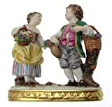 c1960 Rudolstadt-Volkstedt figure group of boy and girl with baskets of flowers and grapes NEGR187