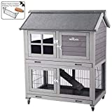 Aivituvin Rabbit Hutch Outdoor Bunny Cage Indoor with Run, Large Rabbit House with Two Deeper Tray - 4 Casters (Grey+Camel)